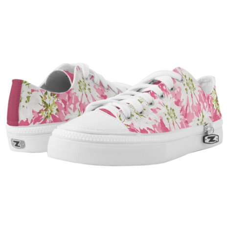 Pretty Pink and White Floral Low-Top Sneakers