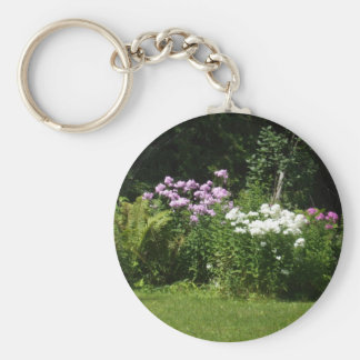 Pretty Pink and White Flower Bed  Scene Keychain