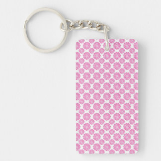 Pretty Pink and White Flower Pattern Keychain