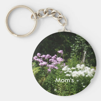 Pretty Pink and White Flowers Keychain