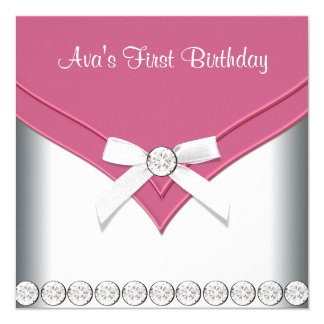 Pretty Pink and White Girls Birthday Party Card