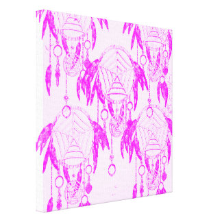 Pretty Pink and White Girly Dream Catcher Pattern Canvas Print