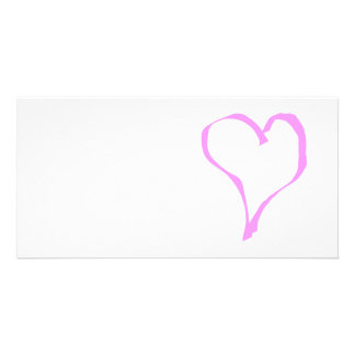 Pretty Pink and White Love Heart. Photo Card Template