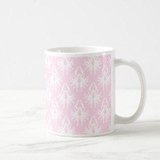 Pretty pink and white pattern. Damask. Mugs