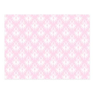 Pretty pink and white pattern. Damask. Postcard