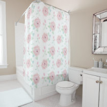 Pretty Pink and White Rose Pattern Floral Shower Curtain