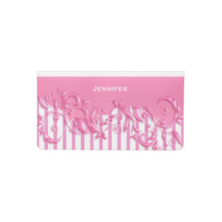 Pretty Pink and White Stripes with a Floral Design Checkbook Cover