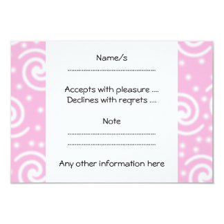 Pretty Pink and White Swirls and Dots. 3.5x5 Paper Invitation Card