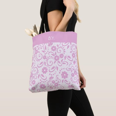 Pretty pink and white whimsical flowers tote bag