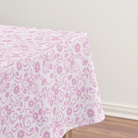 Pretty pink and white whimsy floral tablecloth