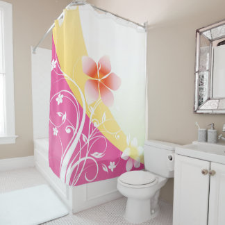 pink and yellow shower curtain. Pretty Pink and Yellow Floral Flourish Shower Curtain Flowers Curtains  Zazzle