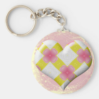 Pretty Pink and Yellow Heart Key Chains