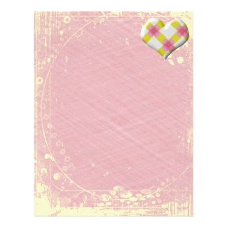 Pretty Pink and Yellow Heart Letterhead