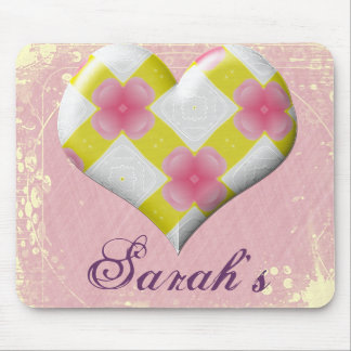 Pretty Pink and Yellow Heart Mouse Pad
