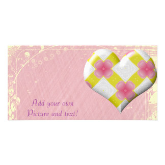 Pretty Pink and Yellow Heart Photo Cards
