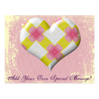 Pretty Pink and Yellow Heart Postcard