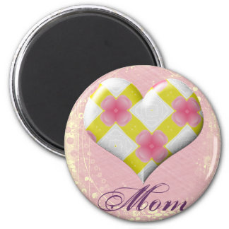Pretty Pink and Yellow Heart Refrigerator Magnets