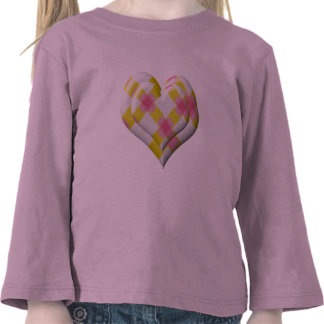 Pretty Pink and Yellow Heart T Shirt