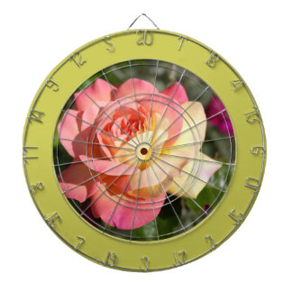Pretty  pink and yellow rose flower.  Floral Dartboard