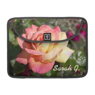 Pretty  pink and yellow rose flower.  Floral MacBook Pro Sleeve