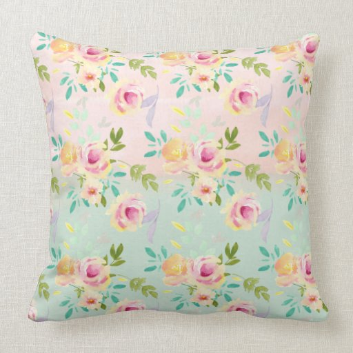 Pretty Pink and Yellow Watercolor Floral Throw Pillow Zazzle