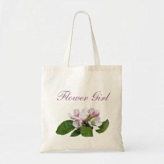 Pretty pink apple blossom flower girl budget tote bag