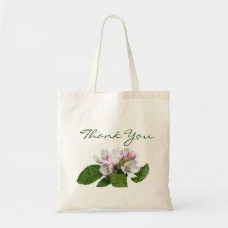 Pretty pink apple blossom wedding favor  thank you budget tote bag