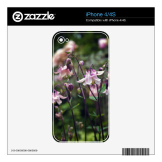 Pretty Pink Aquilegia flowers Decals For iPhone 4S