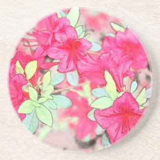 pretty pink azalea flowers. Floral garden plant Coaster
