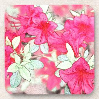 pretty pink azalea flowers. Floral garden plant Drink Coaster