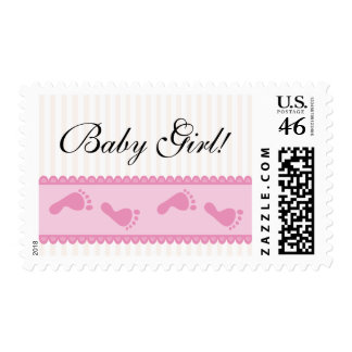 Pretty pink baby feet postage stamp