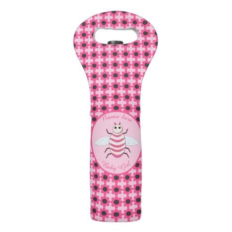 Pretty Pink Baby Girl Bee Custom Wine Bag