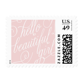 Pretty Pink Baby Girl Birth Announcement Postage