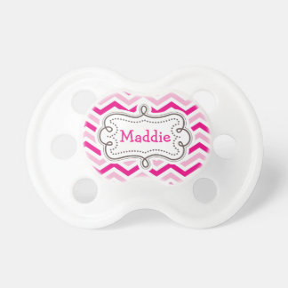 Pretty Pink Baby Girl Personalized Chevron Pattern BooginHead Pacifier