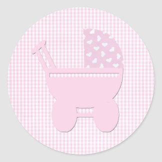 Pretty Pink Baby Girl Vintage Carriage Classic Round Sticker