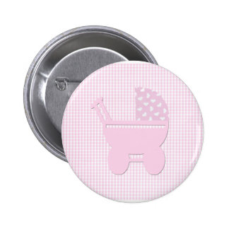 Pretty Pink Baby Girl Vintage Carriage Pinback Button
