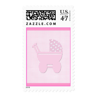 Pretty Pink Baby Girl Vintage Carriage Postage Stamp