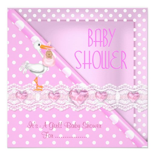 Pretty Pink Baby Shower Girl Baby Polka Dots Invite