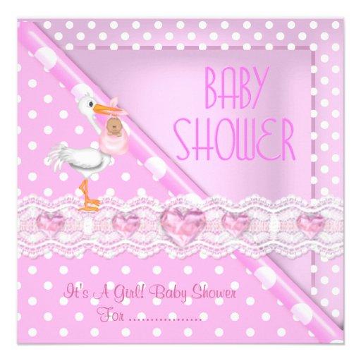 Pretty Pink Baby Shower Girl Baby Polka Dots Invite