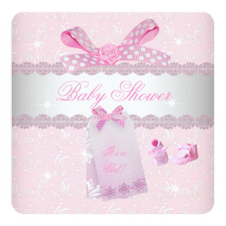 Pretty Pink Baby Shower Girl Booties 5.25x5.25 Square Paper Invitation Card