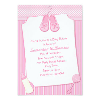 Pretty Pink Baby Shower in Stripes and Polka Dots Card
