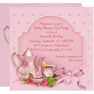 Attractive Pretty Pink Baby Shower Tea Party Invitation