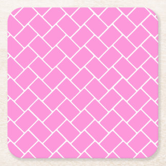 Pretty Pink Basket Weave Square Paper Coaster
