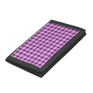 Pretty Pink Basket Weave Tri-fold Wallets