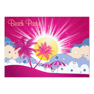 "Pretty Pink Beach Party 5"" X 7"" Invitation Card"
