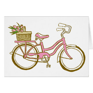Pretty Pink Bicycle with Tulips Card