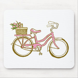 Pretty Pink Bicycle with Tulips Mouse Pad