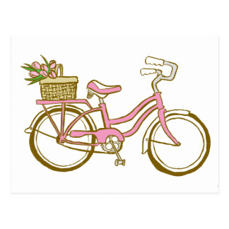 Pretty Pink Bicycle with Tulips Postcard