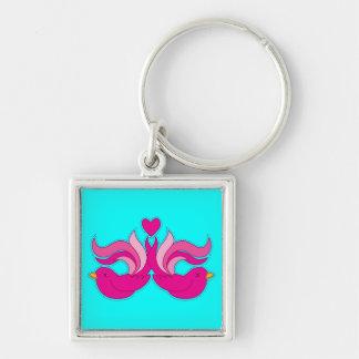 Pretty pink birdys keychain