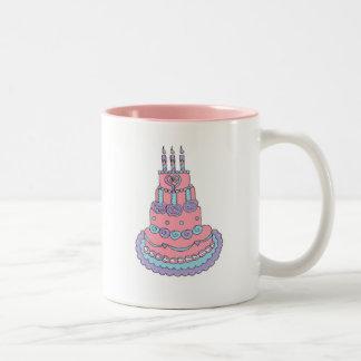 Pretty Pink Birthday Cake Two-Tone Coffee Mug